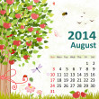 Calendar for 2014, August — Stock Vector