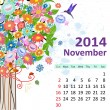 Calendar for 2014, November — Stock Vector