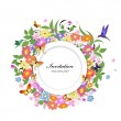 Round floral frame for your design — Stockvektor