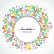 Round floral frame for your design — Stock vektor