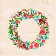 Stockvector : Beautiful garland of flowers retro