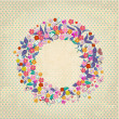 Beautiful garland of flowers retro — Stockvektor