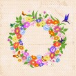Vector de stock : Beautiful garland of flowers retro