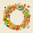 Autumn round frame for your design — 图库矢量图片