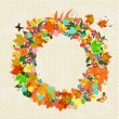 Autumn round frame for your design — Imagen vectorial