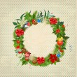 Round Christmas frame for your design — Stock Vector