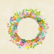Round floral frame for your design — ストックベクタ