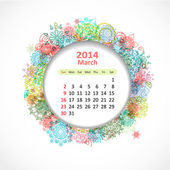 Calendar for 2014, march — Stock Vector