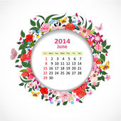 Calendar for 2014, june — Stock Vector
