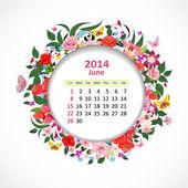 Calendar for 2014, june — Stock Vector