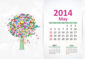 Calendar for 2014, may — Stock Vector