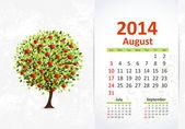 Calendar for 2014, August — Stock Vector