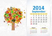 Calendar for 2014, September — Stock Vector