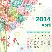Calendar for 2014, april — Stock Vector
