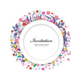 Round floral frame for your design — Stock Vector