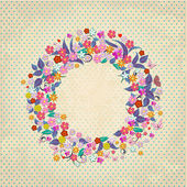 Beautiful garland of flowers retro — Stock Vector