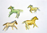 Watercolor drawing of a horse — Stock Photo