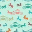 Stock Vector: Seamless texture with horses with carriage