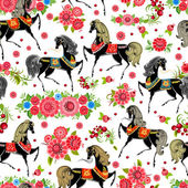 Seamless texture with horses in flowers — Stock Vector