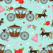 Textura sin fisuras con caballos con carro — Vector de stock