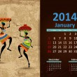 Ethnic Calendar 2014 January — Stock Vector