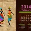 Stock Vector: Ethnic Calendar 2014 February