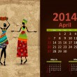 Stock Vector: Ethnic Calendar 2014 april