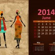 Vettoriale Stock : Ethnic Calendar 2014 june