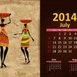 Vettoriale Stock : Ethnic Calendar 2014 july