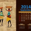 Vettoriale Stock : Ethnic Calendar 2014 september