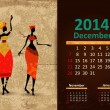 Stock Vector: Ethnic Calendar 2014 december