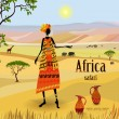 Stock Vector: African women in mountain landscape