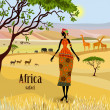 African women in mountain landscape — Stock Vector #32235439