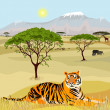 Vector de stock : AfricMountain idealistic landscape with tiger