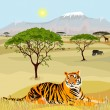 African Mountain idealistic landscape with tiger — Grafika wektorowa