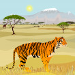 African Mountain idealistic landscape with tiger — Векторная иллюстрация