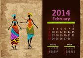 Etniczne kalendarz lutego 2014 — Wektor stockowy