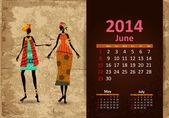 族裔日历 2014年 6 月 — 图库矢量图片