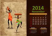 Ethnic Calendar 2014 november — Stock Vector