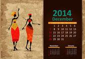 Ethnic Calendar 2014 december — Stock Vector