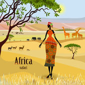 African women in mountain landscape — Stock Vector