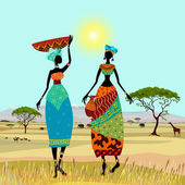 African women in mountain landscape — Stock Vector
