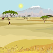 African Mountain idealistic landscape — Stock Vector
