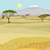 Afrikanska berg idealistiska landskap — Stockvektor