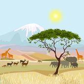 Idealist afrika dağ manzarası — Stok Vektör