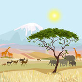 非洲山理想主义风景 — 图库矢量图片