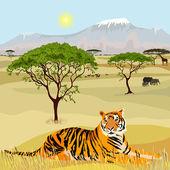 Africké hory idealistické krajina s tygr — Stock vektor