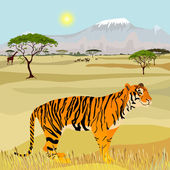 African Mountain idealistic landscape with tiger — Stock Vector