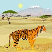Afrikanska berg idealistiska landskap med tiger — Stockvektor