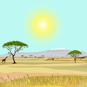 African Mountain idealistic landscape — Vector de stock
